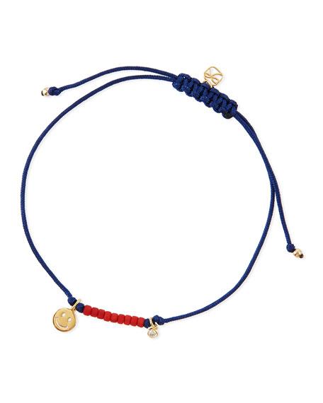 SHY by SE Happy Face Bezel Diamond Cord Bracelet
