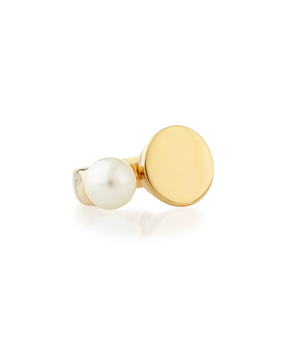Darcy Simulated Pearl & Disc Ring, Size 7