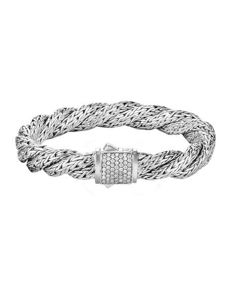 John Hardy Classic Chain Twisted Diamond Bracelet, Size M