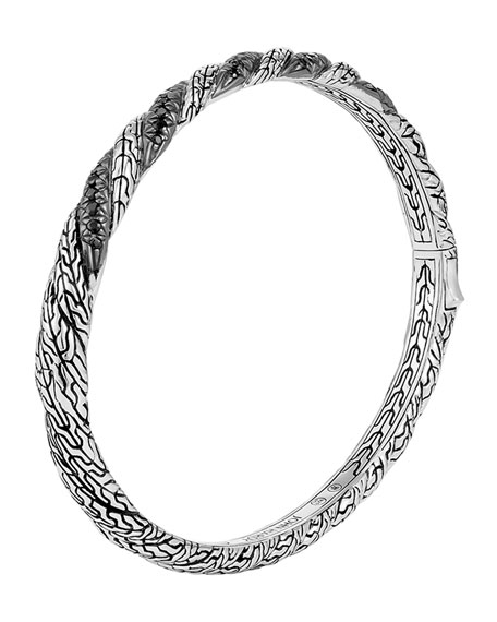 Classic Chain Hinged Lava Bangle, Size M