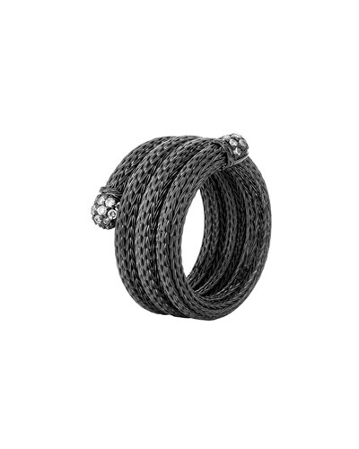 Classic Chain Black Ruthenium Diamond Coil Ring, Size 7