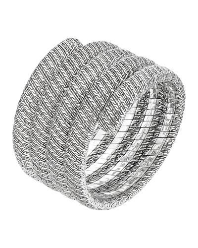 Classic Chain Silver Multiple Coil Bracelet, Size M