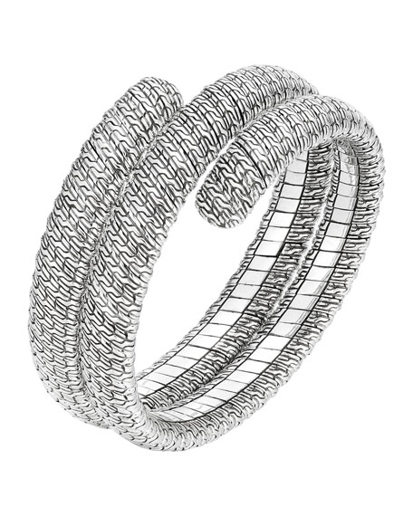John Hardy Classic Chain Silver Double Coil Bracelet, Size M