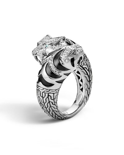 Classic Chain Macan Double Head Diamond Ring, Size 7