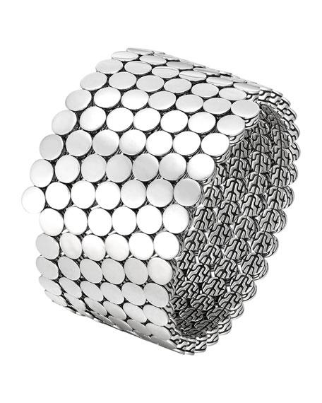 Dot Silver Multiple Coil Bracelet, Size M
