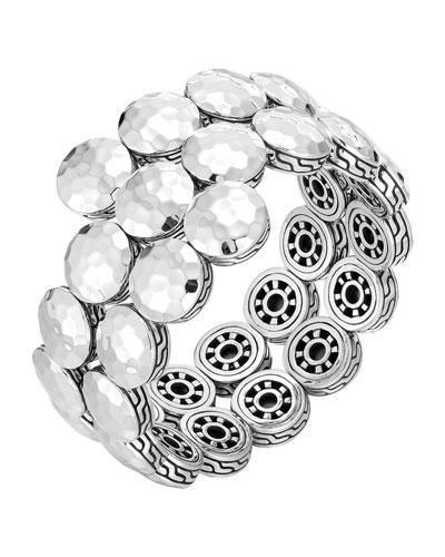 Dot Silver Disc Double Coil Bracelet, Size M