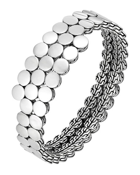 John Hardy Dot Silver Double Coil Bracelet, Size M