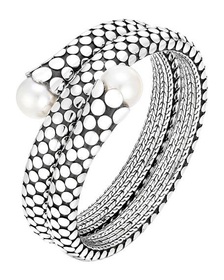 John Hardy Dot Pearl Double Coil Bracelet, Size M