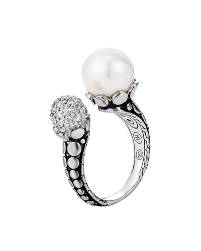 Dot Pearl & Pave Diamond Ring, Size 7