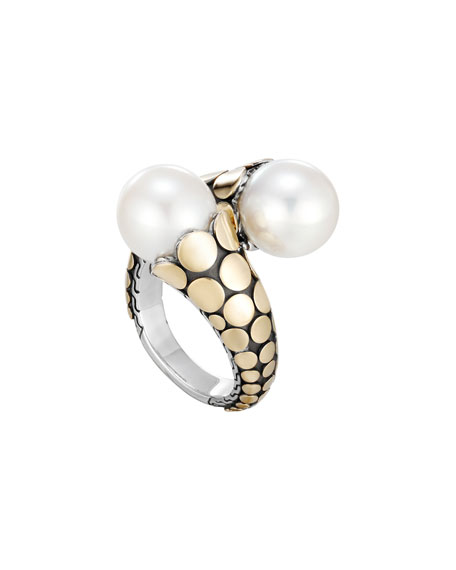 John Hardy Bamboo Bypass Pearl Ring, Size 7