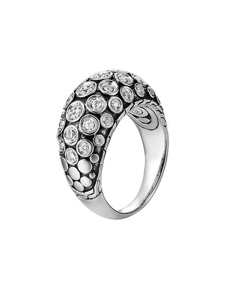 Dot Pave Diamond Dome Ring, Size 7