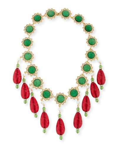 Two-Tone Crystal Bib Necklace