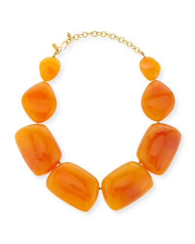 Amber Resin Statement Necklace