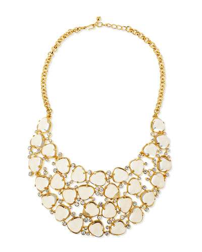 Gold-Plated Bib Necklace W/Crystals