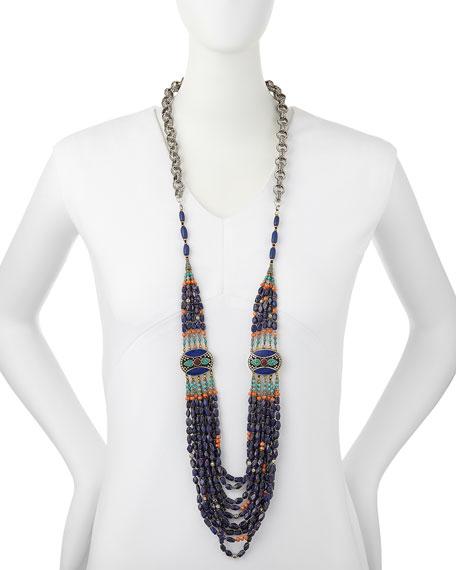 "Long Multi-Strand Necklace, Blue, 42"""