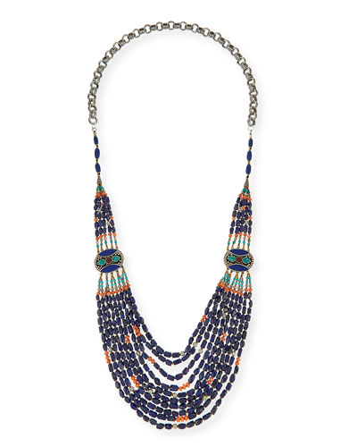 Long Multi-Strand Necklace, Blue, 42""