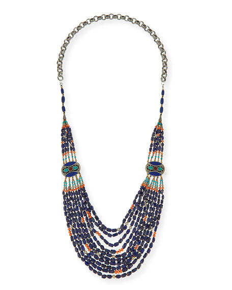 Devon Leigh Long Multi-Strand Necklace, Blue, 42