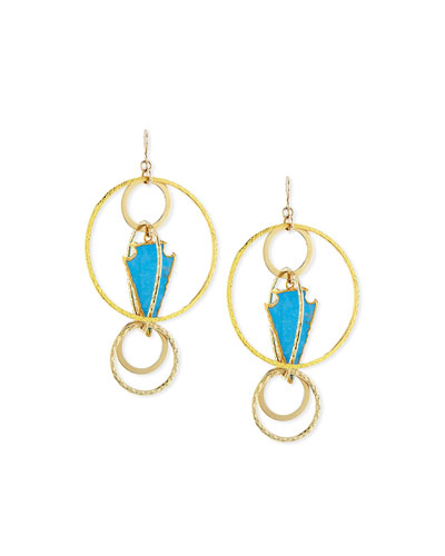 Blue Arrowhead Hoop Earrings