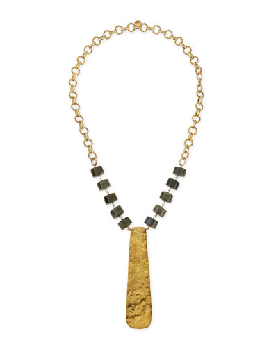 "18k Gold Hammered Plate Necklace, 32""L"