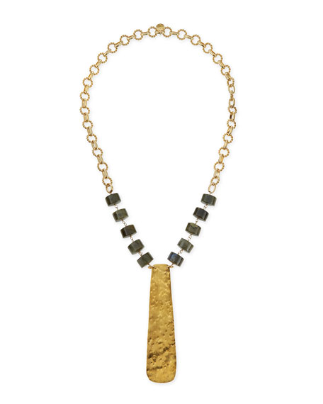 Devon Leigh 18k Gold Hammered Plate Necklace, 32