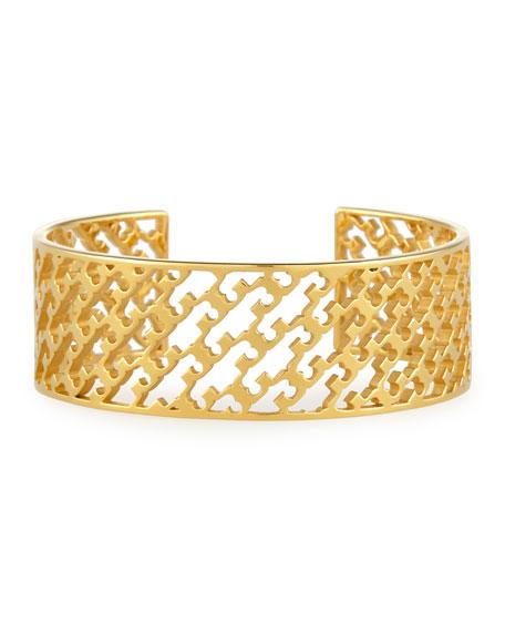 Perforated Serif-T Cuff Bracelet