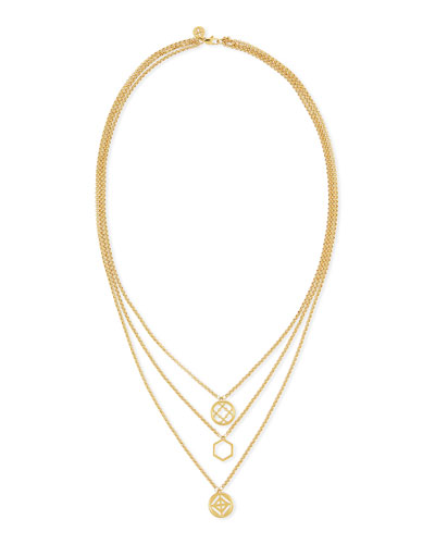 Perforated Charm Three-Strand Necklace