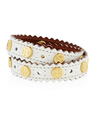 Perforated Double-Wrap Leather Logo Bracelet, New Ivory