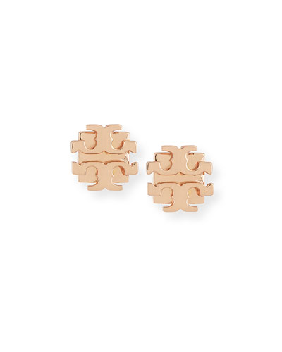 Small Logo-T Stud Earrings, Rose Gold