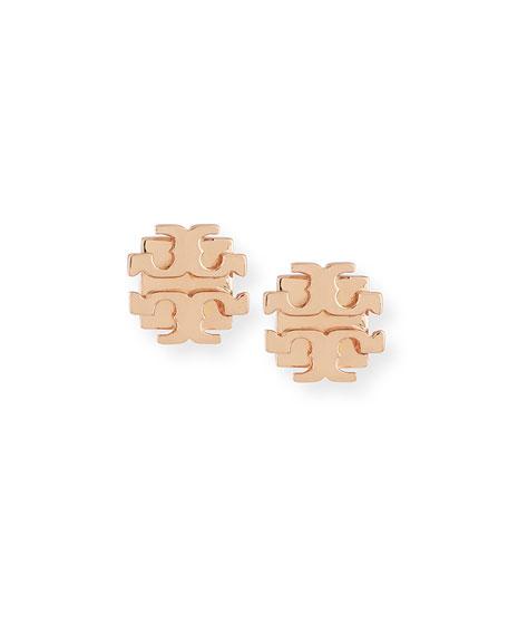 Small Logo-T Stud Earrings, Rose Gold