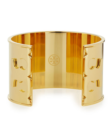 Tory Burch Gold Plated Double-T Serif Logo Cuff