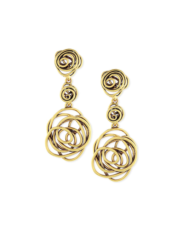 Wire Rose Clip On Drop Earrings