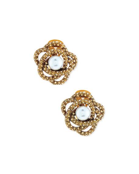 Rosette Button Clip-On Earrings