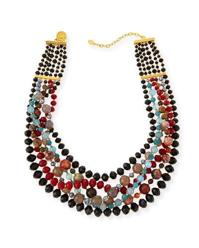 Draped Agate Beaded Bib Necklace