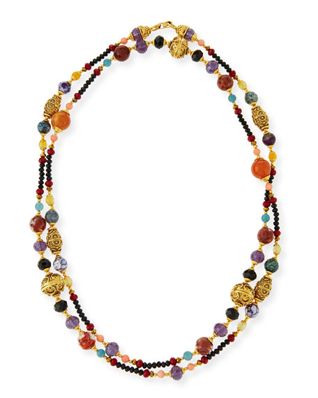 Jose & Maria Barrera Gold-Plated Ornate Beaded Necklace