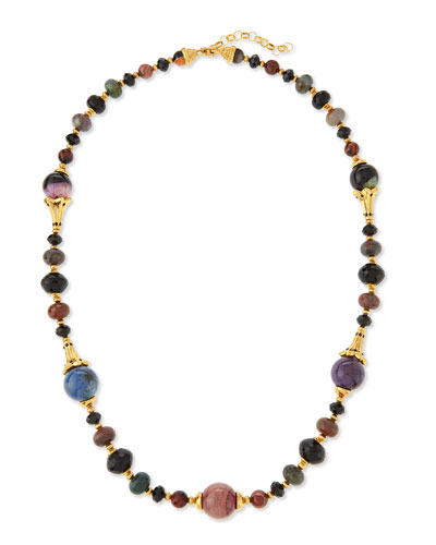 Single Strand Long Beaded Necklace, 38""