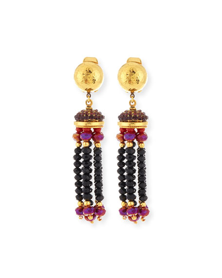 Jose & Maria Barrera Crystal Tassel Clip-On Earrings