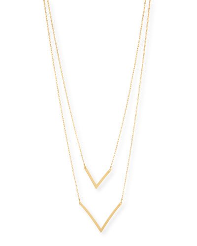 Tila Double V Gold Vermeil Necklace