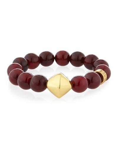 Red Horn Stretch Bracelet with Stations