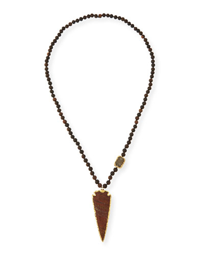 Wood Bead Arrowhead Pendant Necklace