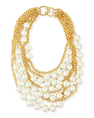 Multistrand Simulated-Pearl Necklace