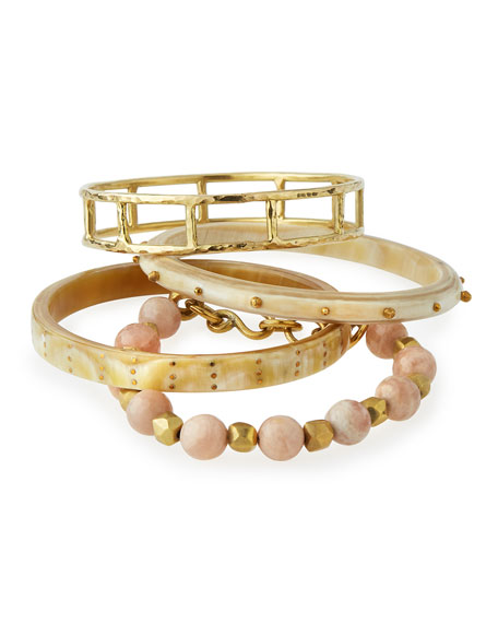 Ashley Pittman Faulu Light Horn Bangles, Set of