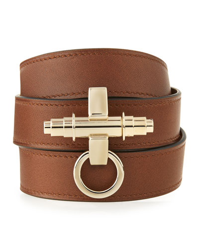 Obsedia Leather Wrap Bracelet, Brown