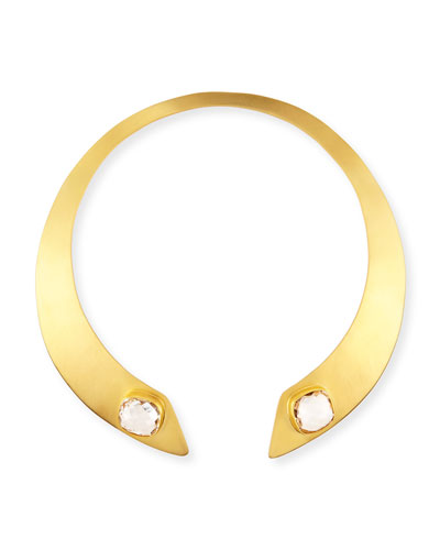 Open-Neck Crystal Collar Necklace