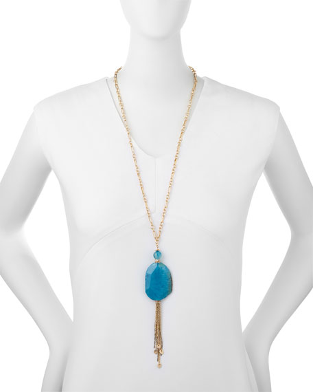 Blue Agate Long Tassel Necklace, 29""
