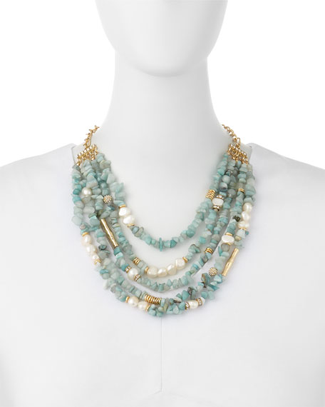 Multi-Strand Agate & Pearl Necklace, Mint