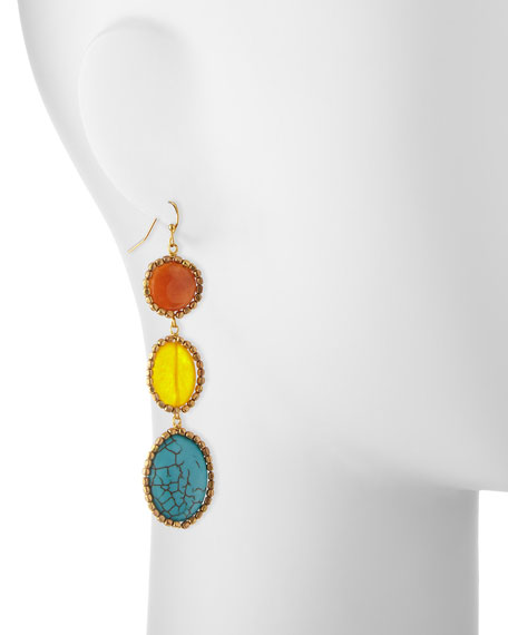 Turquoise Magnesite & Agate Drop Earrings