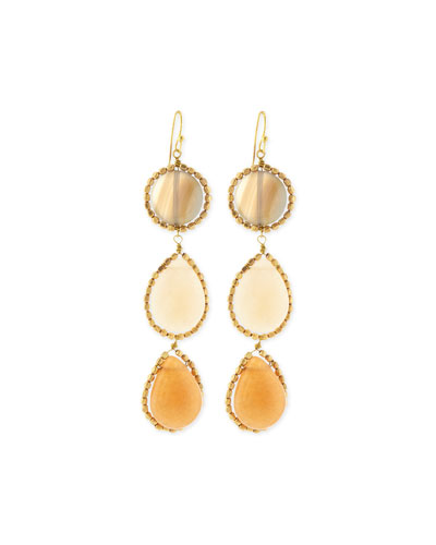 Agate Triple Drop Earrings