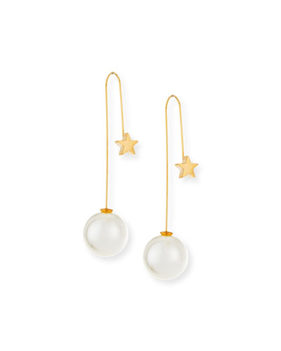 Star & Pearly Thread-Through Earrings