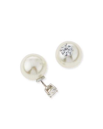 CZ & Pearly Double-End Earrings