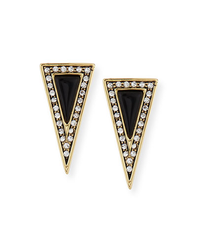 Acute Triangle Crystal Stud Earrings
